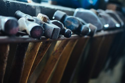 blacksmiths hammers and tools
