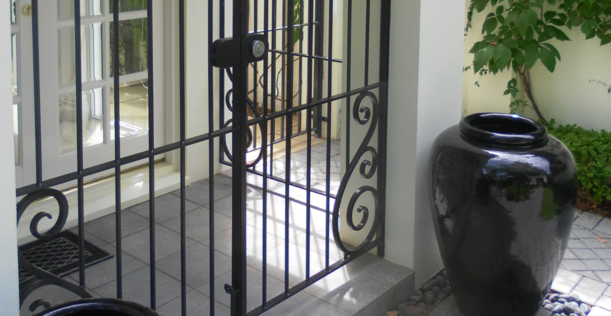 hand forged portico security wrought ironwork