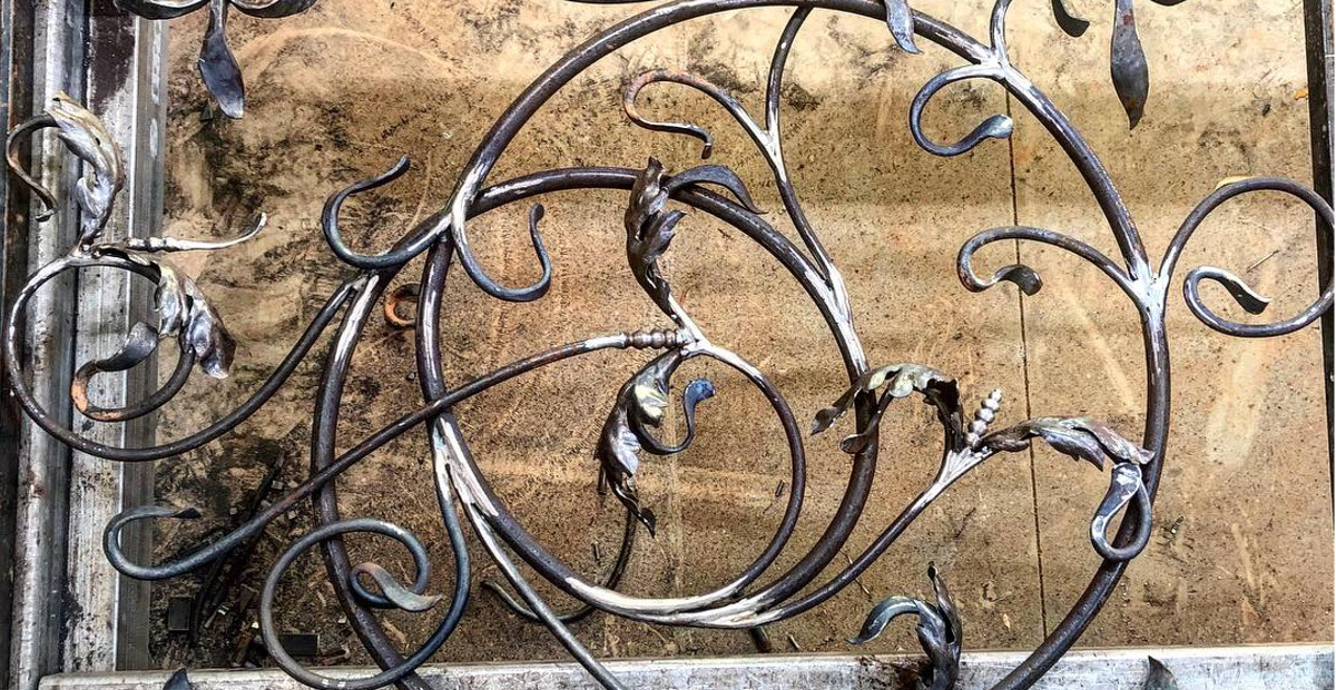 details of hand forged decorative ironwork screen