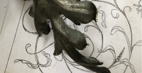sketch and forged leaf detail